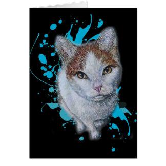 Desenho da arte do gato com o cartão azul da