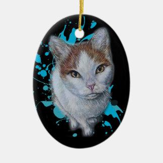 Desenho da arte do gato com o ornamento azul da