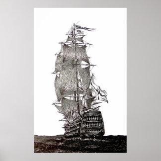 Desenho da caneta e da tinta de Galleon em preto e Pôster