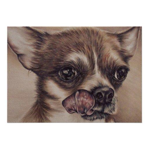Desenho da chihuahua no cartão convite personalizados