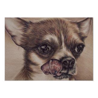 Desenho da chihuahua no cartão convite 12.7 x 17.78cm