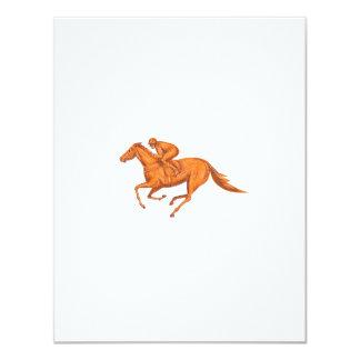 Desenho da corrida de cavalos do jóquei convite 10.79 x 13.97cm