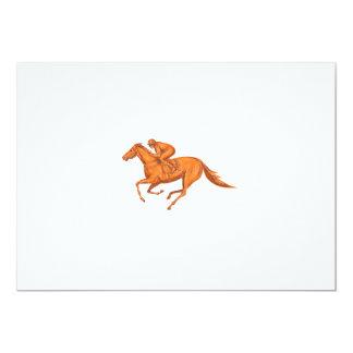 Desenho da corrida de cavalos do jóquei convite 12.7 x 17.78cm