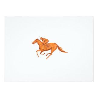 Desenho da corrida de cavalos do jóquei convite 16.51 x 22.22cm