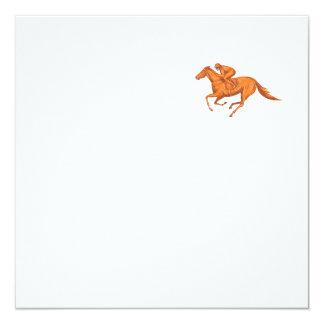 Desenho da corrida de cavalos do jóquei convite quadrado 13.35 x 13.35cm