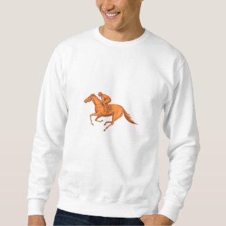 Desenho da corrida de cavalos do jóquei moletom