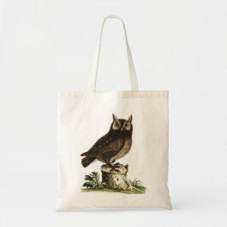 Desenho da coruja do vintage sacola tote budget
