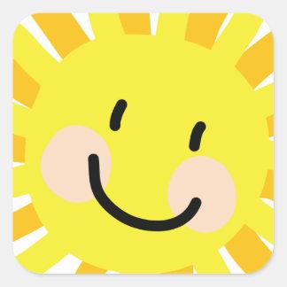 Desenho da criança de Sun Adesivo Quadrado