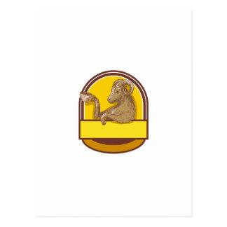 Desenho da crista do café do bebendo da cabra da cartão postal