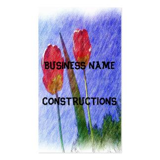 desenho da flor da tulipa cartão de visita