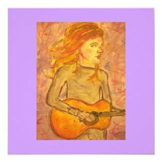 desenho da guitarra acústica convite quadrado 13.35 x 13.35cm