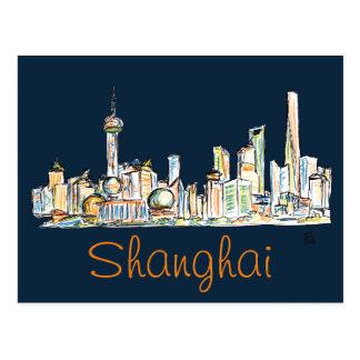 Desenho da skyline de Shanghai Cartão Postal