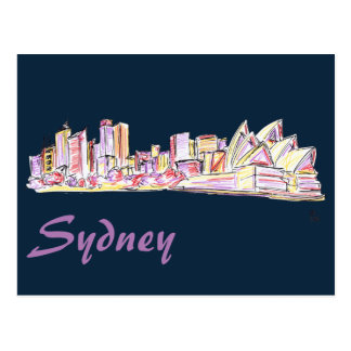 Desenho da skyline de Sydney Cartão Postal