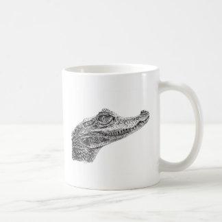 Desenho da tinta do crocodilo do bebê caneca de café