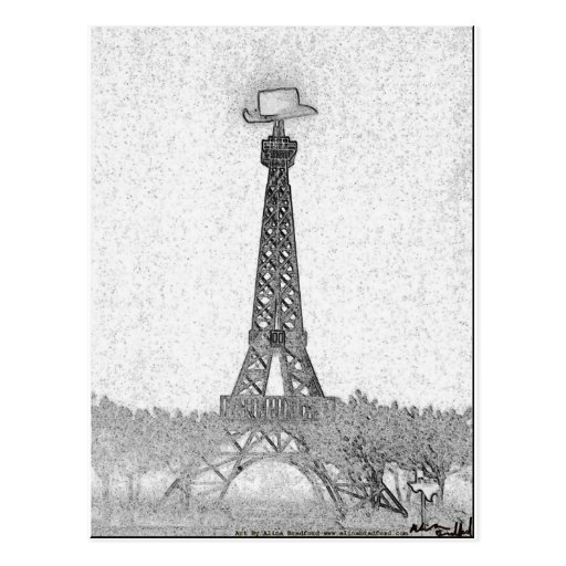 Desenho da torre Eiffel de Paris, Texas Cartao Postal