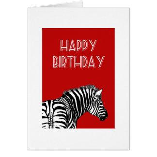 Desenho da zebra, feliz aniversario cartão comemorativo