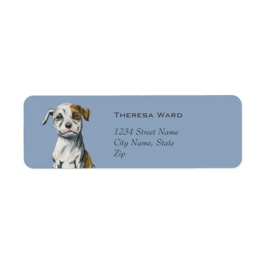 Desenho de assento do filhote de cachorro do etiqueta endereço de retorno