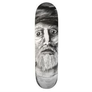 Desenho de carvão vegetal do ancião shape de skate 19,7cm