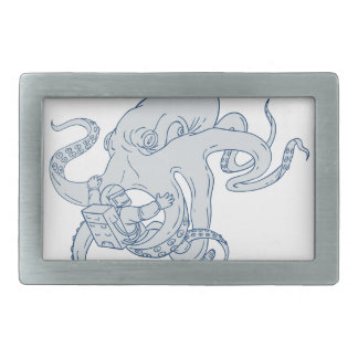 Desenho de combate do astronauta do polvo gigante