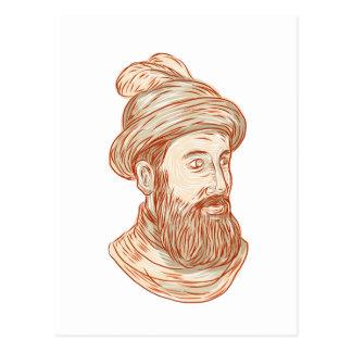 Desenho de Francisco Pizarro Cartão Postal