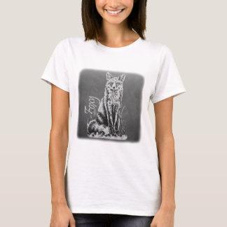 Desenho de giz da arte animal do Fox no quadro Camiseta