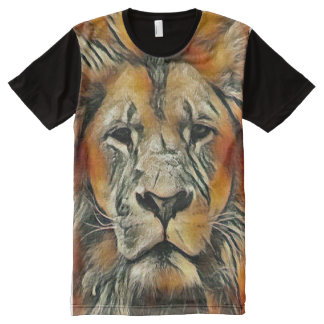 Desenho de giz masculino colorido do leão camiseta com impressão frontal completa
