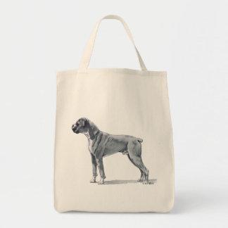 Desenho de lápis do cão do pugilista bolsa tote