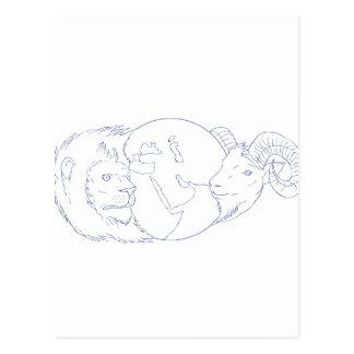 Desenho de Médio Oriente do globo da ram do leão Cartão Postal