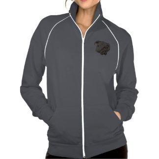 Desenho de Pitbull branco na jaqueta da trilha Jaquetas Para Estampar