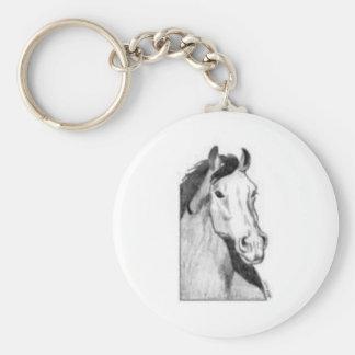desenho de um cavalo (preto e branco) chaveiro