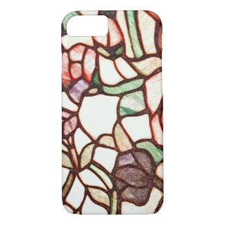 Desenho de vidro da flor da mancha capa iPhone 7