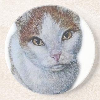Desenho do branco e da laranja do gato porta-copos de arenito