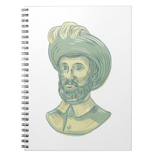 Desenho do busto de Juan Sebastian Elcano Cadernos