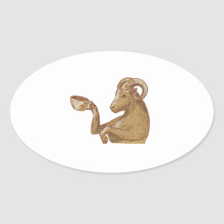Desenho do café do bebendo da cabra da ram adesivo oval