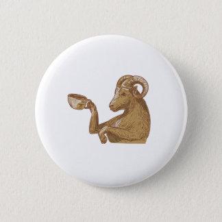 Desenho do café do bebendo da cabra da ram bóton redondo 5.08cm