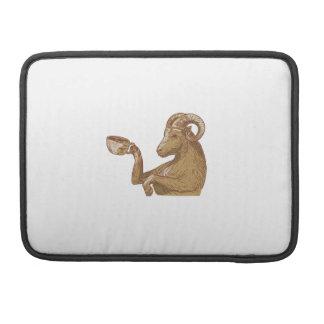 Desenho do café do bebendo da cabra da ram capa para MacBook