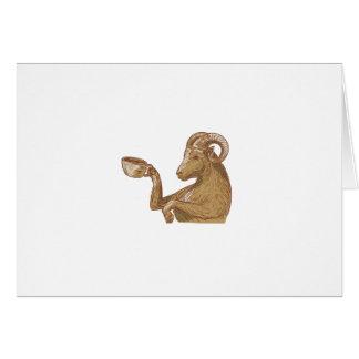 Desenho do café do bebendo da cabra da ram cartão