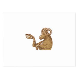 Desenho do café do bebendo da cabra da ram cartão postal