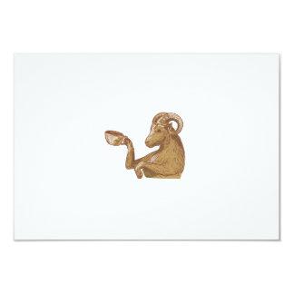 Desenho do café do bebendo da cabra da ram convite 8.89 x 12.7cm