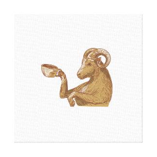 Desenho do café do bebendo da cabra da ram impressão em canvas