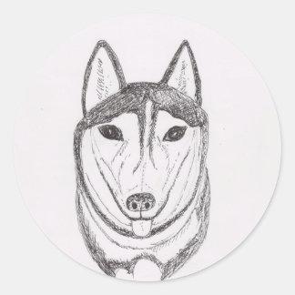Desenho do cão adesivos em formato redondos