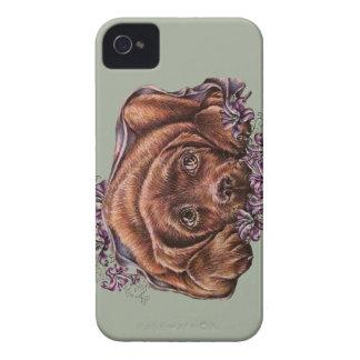 Desenho do cão e dos lírios de Brown Labrador Capa Para iPhone