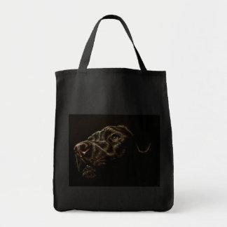Desenho do cão preto na sacola bolsa de lona