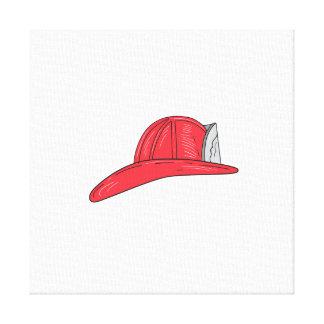 Desenho do capacete do sapador-bombeiro do impressão em tela