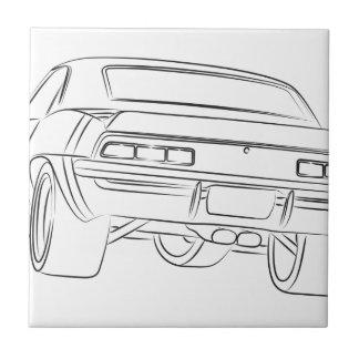 Desenho do carro do músculo azulejos
