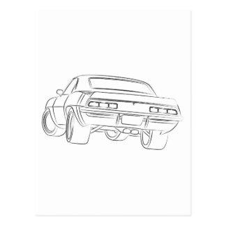 Desenho do carro do músculo cartão postal