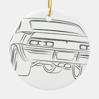Desenho do carro do músculo ornamento de cerâmica redondo
