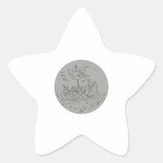 Desenho do círculo do navio de guerra do Trireme Adesivo Estrela