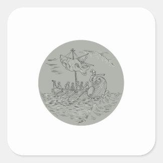 Desenho do círculo do navio de guerra do Trireme Adesivo Quadrado