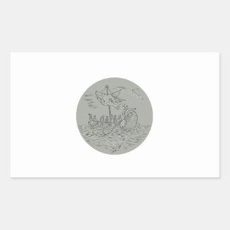 Desenho do círculo do navio de guerra do Trireme Adesivo Retangular